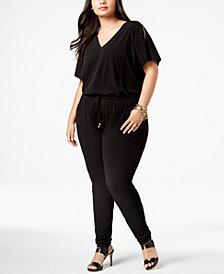 MICHAEL Michael Kors Plus Size Flutter-Sleeve Jumpsuit