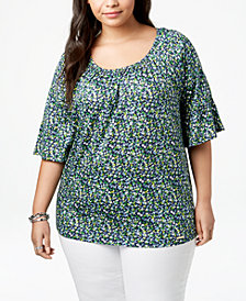 MICHAEL Michael Kors Plus Size Floral-Print Elbow-Sleeve Tunic
