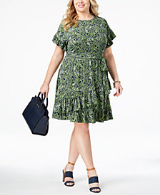 MICHAEL Michael Kors Plus Size Ruffled Faux-Wrap Dress