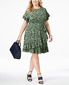 MICHAEL Michael Kors Plus Size Ruffled Faux-Wrap Dress