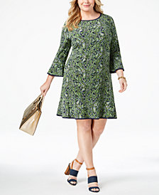 MICHAEL Michael Kors Plus Size Printed Flounce Dress