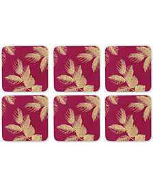 Pimpernel Etched Leaves Set of 6 Pink Coasters