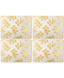 Etched Leaves Light Gray Set of 4 Placemats