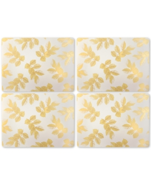 Pimpernel Etched Leaves Light Gray Set of 4 Placemats
