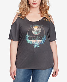Jessica Simpson Trendy Plus Size Cold-Shoulder Printed T-Shirt