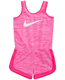 Nike Swoosh-Print Essentials Romper, Little Girls