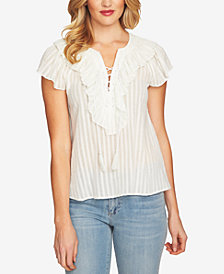 CeCe Cotton Lace-Up Top