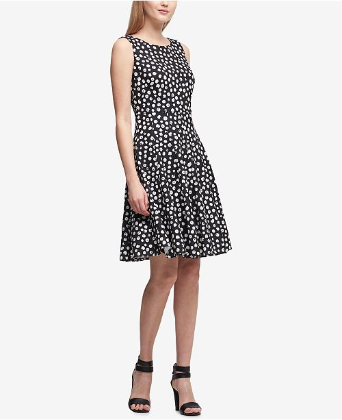 35fa31a0264 ... DKNY Brushed Dot Scuba Fit   Flare Dress