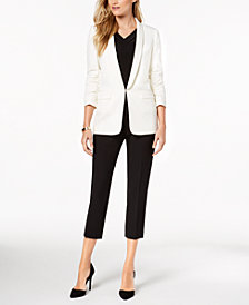 Tahari ASL Ruched-Sleeve Blazer, Shirred V-Neck Top & Cropped Skinny Pants