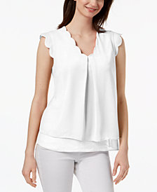 Monteau Petite Scallop-Trim Blouse, Created for Macy's