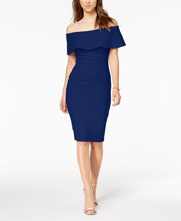 XSCAPE Off-The-Shoulder Sheath Petite Dress