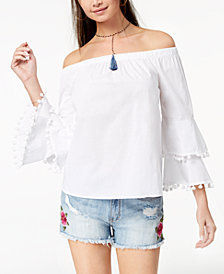 Ultra Flirt By Ikeddi Juniors' Cotton Off-The-Shoulder Top