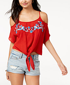 Polly & Esther Juniors' Embroidered Cold-Shoulder Top