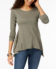 Style & Co Solid Handkerchief-Hem Top, Created for Macy's