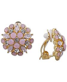 Gold-Tone Multi-Stone Flower Clip-On Stud Earrings