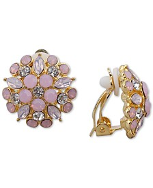 Nina Gold-Tone Multi-Stone Flower Clip-On Stud Earrings