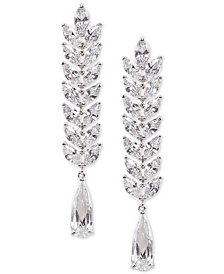 Nina Silver-Tone Cubic Zirconia Linear Drop Earrings