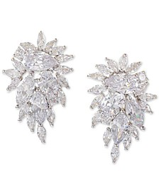 Silver-Tone Crystal Cluster Drop Earrings