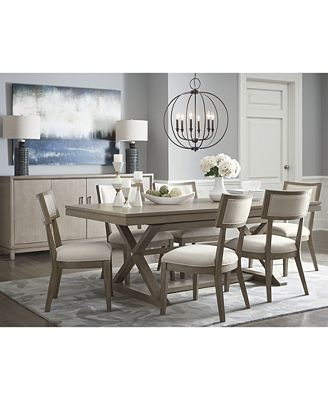 Furniture Rachael Ray Highline Expandable Trestle Dining Table