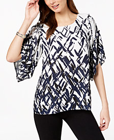 Alfani Printed Elbow-Sleeve Top, Created for Macy's