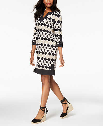 Charter Club Printed Knit Shift Dress, Created for Macy's