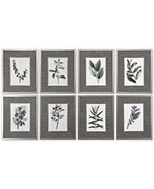 Uttermost Sepia Gray Leaves 8-Pc. Print Wall Art Set