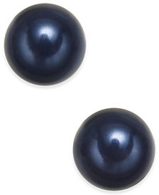Charter Club Gold-Tone Imitation Navy Pearl Stud Earrings, Created for Macy's