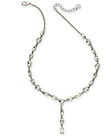 "Charter Club Silver-Tone Crystal Lariat Necklace, 17"" + 2"" extender, Created for Macy's"
