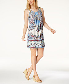 John Paul Richard Petite Printed Pleated Dress
