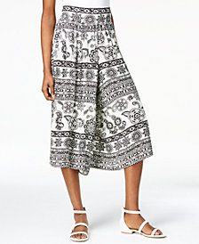John Paul Richard Petite Printed Cropped Wide-Leg Pants
