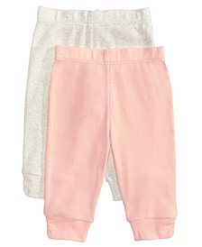 First Impressions Baby Girls 2-Pack Pull-On Cotton Pants, Created for Macy's