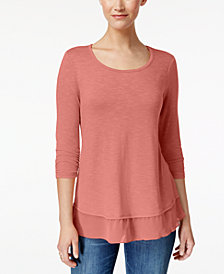 Style & Co Chiffon-Hem Top, Created for Macy's