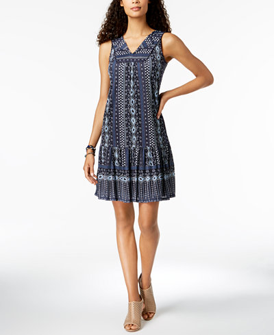 Style & Co Petite Sleeveless Printed Shift Dress, Created for Macy's