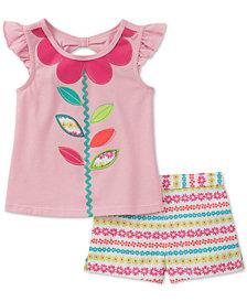 Kids Headquarters 2-Pc. Flower Top & Shorts Set, Baby Girls