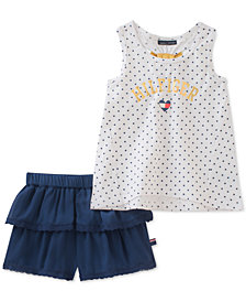 Tommy Hilfiger Baby Girls 2-Pc. Graphic-Print Tank Top & Ruffle Shorts Set