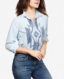 Lucky Brand Geo-Inspired Colorblocked Denim Shirt