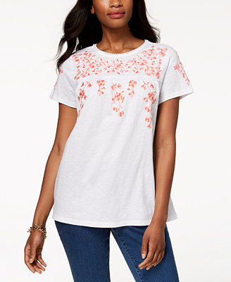 Cotton Floral Print T Shirt, Created For Macy's by Charter Club