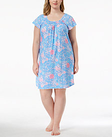 Miss Elaine Plus Size Picot-Trim Rose-Print Nightgown