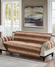 Madison Park Zuri Reversible Tip-Dyed Faux-Fur Sofa Protector