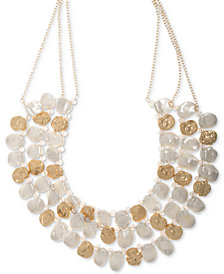 "lonna & lilly Gold-Tone & Imitation Pearl Multi-Row Statement Necklace, 16"" + 3"" extender"