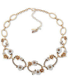 "lonna & lilly Gold-Tone Pavé & Imitation Pearl Flower Collar Necklace, 16"" + 3"" extender"