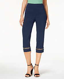 JM Collection Petite Grommet-Trim Capri Pants, Created for Macy's
