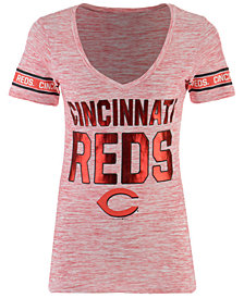 5th & Ocean Women's Cincinnati Reds Space Dye Sleeve T-Shirt