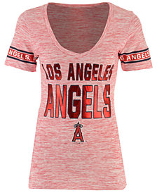 5th & Ocean Women's Los Angeles Angels Space Dye Sleeve T-Shirt