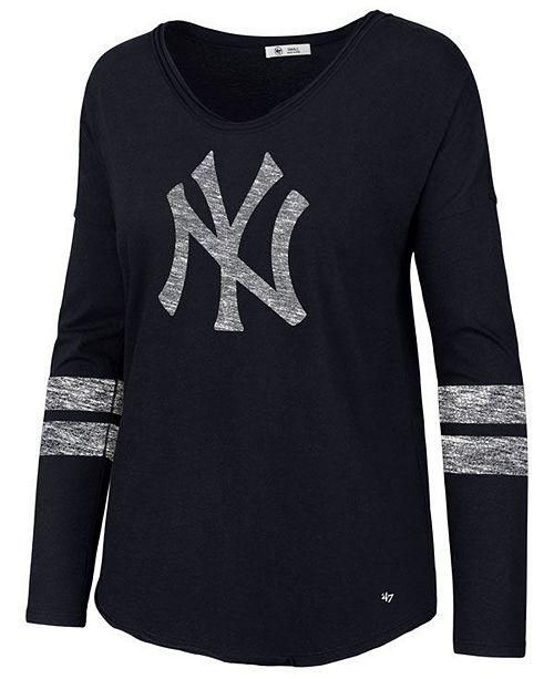 ...  47 Brand Women s New York Yankees Court Side Long Sleeve T-Shirt    ... 9e1a271d0eca