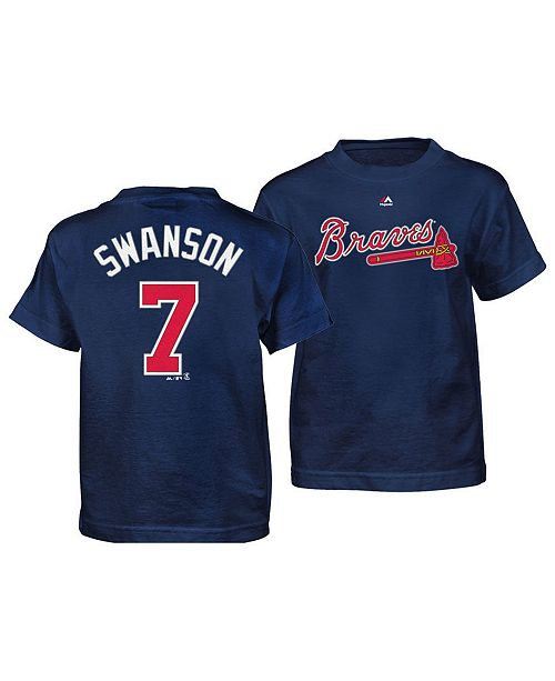d8191c052 Majestic Dansby Swanson Atlanta Braves Official Player T-Shirt ...
