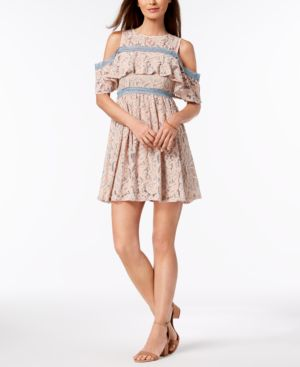 FOXIEDOX COLD-SHOULDER LACE A-LINE DRESS