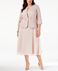 Alex Evenings Plus Size Midi Dress & Shimmer Jacket