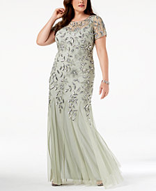 Adrianna Papell Plus Size Floral-Beaded Gown