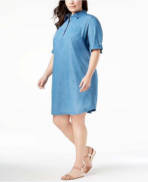 Karen Scott Plus Size Cotton Chambray Shirtdress, Created for Macy\'s ...
